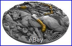 2018 White Horse- Four Horsemen Of Apocalypse High Relief 2 Oz Silver Coin Niue