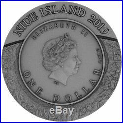 2019 1 Oz Silver Niue $1 SPACE MINING II Chondrite Meteorite High Relief Coin