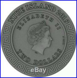 2019 $2 Niue HEPHAESTUS God of blacksmith High Relief, Antique 2 Oz Silver Coin