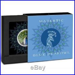 2019 Majestic Blue Peafowl Peacock 1 Oz Colored Silver Proof Coin Swarovski