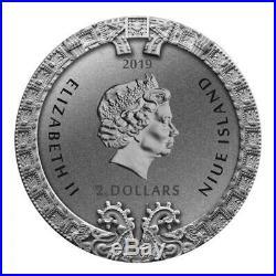 2019 Niue 2$ 2 Oz Silver Coin AZTEC CALENDAR