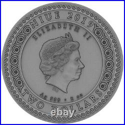 2019 Niue 2$ Goddess ARTEMIS High Relief Golded 2 Oz Silver Coin