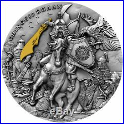 2019 Niue 2 Ounce Chinggis Khaan Ultra High Relief Gold Gilded Silver Coin