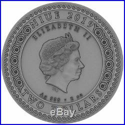 2019 Niue 2 Ounce Goddess Artemis High Relief Gold Gilded Silver Coin