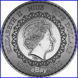 2019 Niue 2 Ounce Mandala Collection Elephant Swarovski Crystal Silver Coin