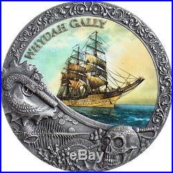 2019 Niue 2 Ounce Whydah Gally Grand Shipwrecks Colored High Relief Silver Coin