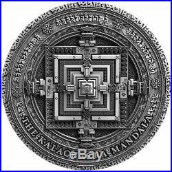 2019 Niue 2 oz Ancient Calendars Kalachakra Mandala High Relief Silver Coin