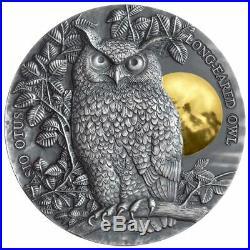 2019 Niue 2 oz Asio Otus Long Eared Owl High Relief. 999 Silver Coin