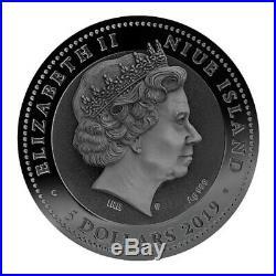 2019 Niue 2 oz Dr. Pestilence Death Mask High Relief Gold Gilded Silver Coin