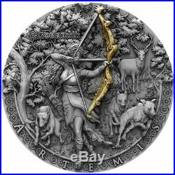 2019 Niue 2 oz Goddess Artemis High Relief Gold Gilded Silver Coin