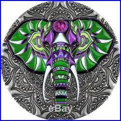 2019 Niue 2 oz Mandala Collection Elephant Swarovski Crystal Colored Silver Coin