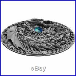 2019 Niue 2 oz Norse Dragon Jormungandr High Relief Antique Finish Silver Coin