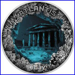 2019 Niue 2 oz Sunken Cities Atlantis Underwater Effect Concave Silver Coin