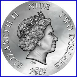 2019 Niue 50 Gm Dark Beauties Evanesca Vintage Print High Relief Silver Coin
