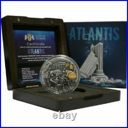 2019 Niue $5 Legendary Lands Atlantis 2 oz. 999 Silver Coin Mintage 500