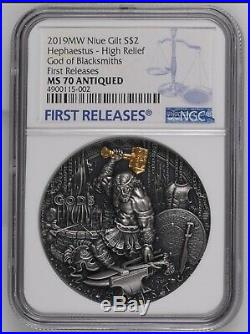 2019 Niue Hephaestus Silver Coin 2oz High Relief God of the Blacksmiths NGC MS70
