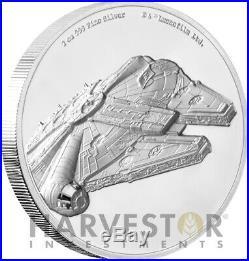 2019 Star Wars Millennium Falcon Ultra High Relief 2 Oz. Silver Coin Ogp