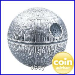 2020 $100 Niue. 999 Fine Silver Kilo Spherical Stars Wars Death Star OGP & COA