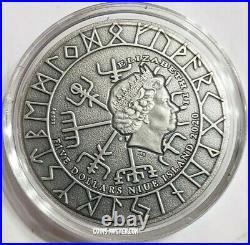 2020 2 Oz Silver $5 Niue ERIC BLOODAXE Vikings Antique Finish High Relief Coin