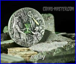 2020 2 Oz Silver $5 Niue SWORD OF DESTINY The Witcher Antique Finish Coin