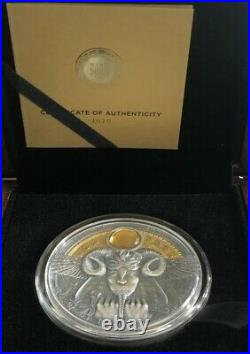 2020 Amun-Ra Divine Faces Of The Sun 3 oz Antiqued Silver Coin withAmber 5$ Niue