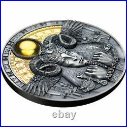 2020 Amun-Ra Divine Faces of the Sun Antique Finish 3 Ounce Silver Coin