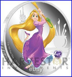 2020 Disney Princess With Gemstone Rapunzel 1 Oz. Silver Coin Ogp Coa -6th