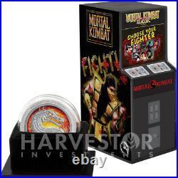 2020 Mortal Kombat 1 Oz. Silver Coin Retro Game Coin Ogp Coa Mintage 2,020