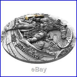 2020 Niue 2 Ounce Viking Eric Bloodaxe High Relief Gilded Antique Silver Coin