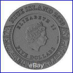 2020 Niue 2 oz Gods of Anger Horus High Relief Gold Gilded Silver Coin
