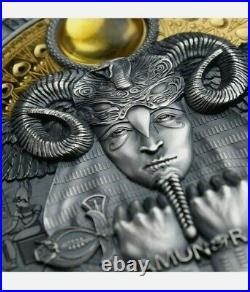 2020 Niue $5 Egyptian God Amun-Ra 3oz. 999 Fine Silver Antiqued Coin
