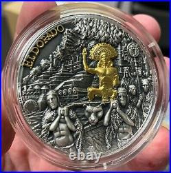 2020 Niue $5 El Dorado Gold Gilded 2 oz 999 Silver Coin 500 Mintage