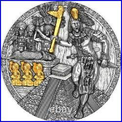 2020 Niue $5 MAYAN HOLCAN Warriors 2oz. 999 silver coin with Gold gilding
