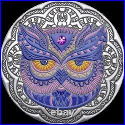 2020 Niue $5 Mandala Owl 2 oz. 999 Silver Proof Coin withGemstone Mintage 500