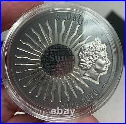 2020 Niue $5 Sun Gods Tonatiuh 2 oz Silver Coin with Gemstone 500 Made