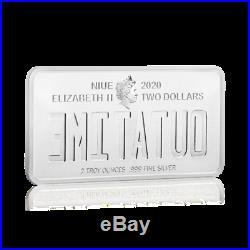 2020 Niue Back to the Future License Plate 35th Ann. 2 oz Silver Coin 750 Made