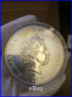 2020 Niue Roaring Lion 5 oz Silver High Relief Coin BU Low Serial Number