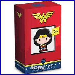 2020 Niue Wonder Woman CHIBI 1oz Colorized Silver Proof Coin DC Justice League