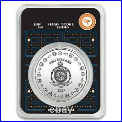 2020 PACMAN 40th Anniversary Colorized 1 oz. 999 Silver 2$ Coin Niue In TEP card