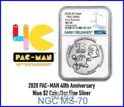 2020 PAC-MAN NGC MS70 ER 1oz. Silver Coin40th Anniversary PRESALE