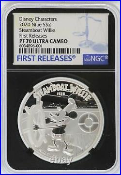 2020 Steamboat Willie 1 oz Silver Proof Coin NGC PF70 Niue $2 Disney JK376