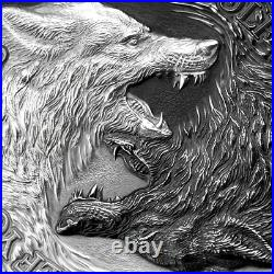 2021 Niue $2.00 Two Wolves (32mm) high relief -1oz. 999 silver coin withOMP