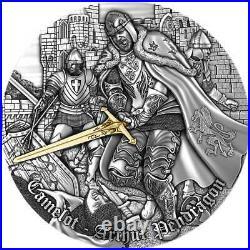 2021 Niue 2 oz Camelot Arthur Pendragon High Relief Gilded Silver Coin
