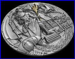 2021 Niue $5 Angels And Demons 2 Oz Silver LUCIFER Antique Finish Coin OGP