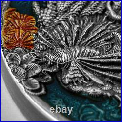 2021 Niue $5 Coral Reef Antiqued Colorized 2 oz. 999 Silver Coin 500 Made
