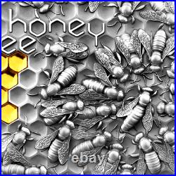 2021 Niue $5 Honey Bee 2 oz Silver Coin Antiqued withGold Gilding 500 Made