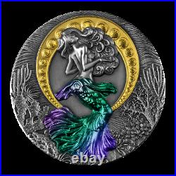 2021 Niue $5 Mermaid Siren Antiqued 2 oz. 999 Silver Coin 500 Made