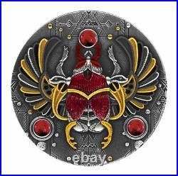 2021 Niue $5 Ruby Scarabaeus Antiqued 2 oz Silver Coin withGemstone Mintage 500