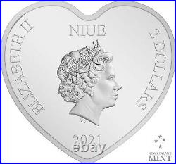 2021 Niue Disney Beauty and the Beast 30th Anniversary 1oz Heart Silver Coin