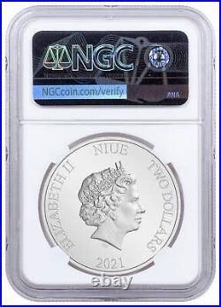 2021 Niue Disney Princess Mulan 1 oz Silver Colorized $2 Coin NGC PF70 UC FR OGP